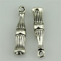 antique coke bottle - 200pcs mm vintage antique silver plated zinc alloy Coke bottle charms diy vintage jewelry