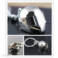 antique motorcycle helmets - Hot Sale D Car Motorcycle Bicycle Helmet Auto Key Chain Ring Keychain Keyring Silver Cool