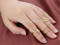 Cheap Hot Sale 4Pcs set Fashion Cute Leaf Heart Gold & Silver Cut Above Knuckle Ring Band Midi Rings for Women for Valentine's Gifts