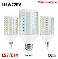 Wholesale New Super Bright W LED Corn lamp LED E27 E14 B22 Dimmable V V LED Bulbs Samsung SMD Pendant light for Home lighting