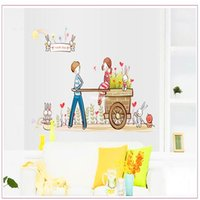 bedroom decoration themes - Wall stickers home decoration Removable wall stickers living room bedroom sofa TV wall couple romantic wedding theme decoration AY7094