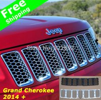 Wholesale Auto Front D Mesh Racing Grilles Insert Prevent Bug Dirt Grill ABS Chrome Silver Black For Jeep Grand Cherokee free ship