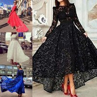 arab tea - Hot Sale Lace Formal Dresses Evening With Long Sleeves High Low Prom Dress Arab Tea Length Party Evening Gowns