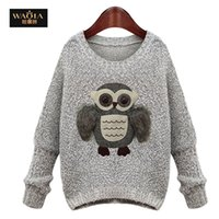 Wholesale Women Knitwear Crochet Sweater Fashion Sequins the Owl Print Long Sleeve Pullover Black Grey Jumper For