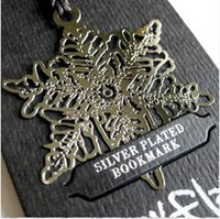 beautiful paper snowflakes - Free ship pc K gold plated metal bookmark beautiful snowflake book clip
