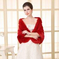 Wholesale Popular Cheap Bridal Wraps Jackets Ivory Faux Fur Wrap Cape Stole Shawl Coat Shrug Bridal Winter Wedding Jacket XZ0206 salebags