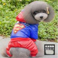 Wholesale 2015 new dog legs winter cotton nylon shioze thickened wind snow four legged puppy coat Batman hql