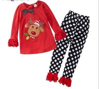 Girl Spring / Autumn  Lowest Price Girl Clothing Set Cut Christmas Embroidery Fawn T Shirt + Dot Pants 2pcs Baby Sets %100 High Quality Pure Cotton Kids Suits