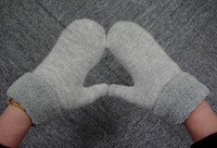 Wholesale New Arrival Dobule Layer Thick Wool Warm Winter Knit Twist Gloves Mittens With Rope