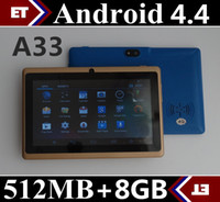Wholesale 7 inch Capacitive Allwinner A33 Quad Core Android dual camera Tablet PC GHz MB GB ROM with Bluetooth and Flashlight WiFi