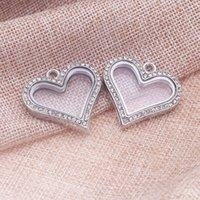 Cheap TMC- Floating Charms for Glass Lockets Zinc Alloy Trendy Rhinestone Herats Locket Jewelry Charm Pendant Making 5pcs 34*35mm 8325
