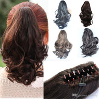 Wholesale Womens Claw Ponytail Ladies Hair Piece Hair Extension Ladies Medium Curly Wavy Pony Wig hair ponytails hairpieces PT48