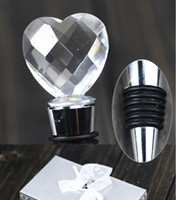 Wholesale New Crystal Heart Chrome Bottle Stopper wine set wedding favors and gifts Brand New Good Quality