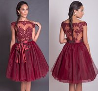 apple hill - Burgundy Organza Shinning prom dresses Knee Length A line Cap Lace Applique Bow sash Party gowns hill Vestidos De Fiesta HomecomingW