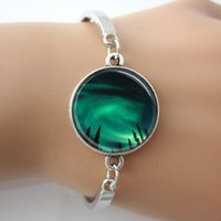 aurora borealis ring - Aurora Borealis in the Night Sky of Alaska Glass Tile Bracelets Bangles male silver Alloy Charms fashion Bangle hot sale women