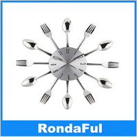 antique silver forks - 3D DIY Spoon Fork Wall Clock Cool Silver Kitchen Cutlery Utensil For Creative Design Home Decor