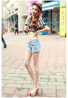 Wholesale summer new arrival womens wide leg fashion cute ripped washed denim vintage loose hole jeans shorts pants