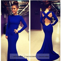 Wholesale Cheap Sexy White Blue Long Sleeve Backless Evening Dresses Stretchy Spandex Lurelly Monaco Sheath Prom Party Celebrity Gowns LF