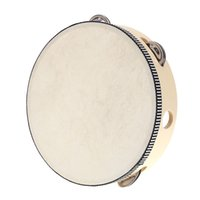 Wholesale 8 quot Hand Held Tambourine Drum Bell Birch Metal Jingles Percussion Musical Educational Toy Instrument for KTV Party Kids Games
