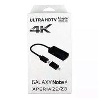 MHL 3.0 teléfono está conectado a HDMI de alta definición por cable TV 4K * 2K líneas de datos para la NOTA 4 Z3 Z2 con la caja al por menor