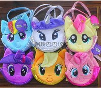 aaa quality handbags - 2015 AAA quality little pony kid boy girl my little pony color soft doll laptop bag handbag totes candy key snack bag gift TOPB2346