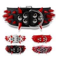 Wholesale Studded Spiked Leather Dog Pet Collars Sizes Colors For Large Breeds