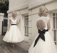 Wholesale Fashion Portrait Wedding Dresses Popular Tea Length Ball Gown Cap Sleeve Around Back Tulle Lace Black Bow Ribbon Garden Bride Dresses