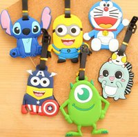 Wholesale Free Ship Soft PVC D Cartoon Lage Claim Tag Travel Name Tag Card Tag Name Pocket Case Tag