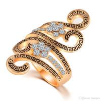 al por mayor antigüedad k-Anillos para mujer Anillos de diamantes de cristal Compromiso cúbicos Zirconia Anillos Moda Vintage Joyería Plata de antigüedad 18 K anillo de boda de oro conjunto
