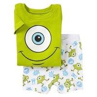 venda por atacado summer pajamas-Monstros 2015 Meninos Verão pijamas ternos de manga curta Pijama Crianças Pyjama Define frete grátis
