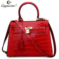 Wholesale 2016 cappuccino new collection top grade croc Geniune leather bag handbag fashion woman bags KJDl9002