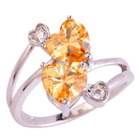 Wholesale Love Style Jewelry Gift Heart Cut Morganite Rainbow Pink Sapphire Silver Ring Size