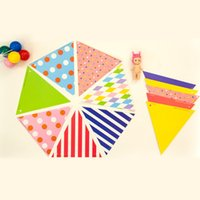 stage banners - 30sets Lovely Mixed Heart Polka Dot Pattern Buntings Colored Hanging Pennant Banners Stage Show Performance Props HY103