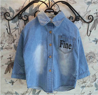 fine clothing - New Spring Fine Boys Girls Shirts Denim Comic Cartoon Print Long Sleeve Shirt High Quality Kids Tops Children Clothes Indigo Blue K3883