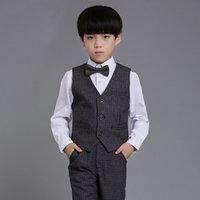 Wholesale 4Pcs New Handsome Children Boy Shirt Suit Vest Dress School Prom Clothes Boy s Formal Event Wear Accessories Customized B06