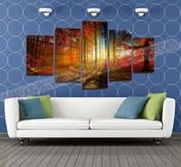 painting - 5 Panel Forest Painting Canvas Wall Art Picture Home Decoration Living Room Canvas Prints Modern Landscape Painting Canvas Art