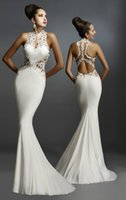 Wholesale 2015 Janique Evening Dresses Mermaid High Color Sweep Train White Jersey Hollow Back Sleeveless Lace Applique Evening Dresses W974
