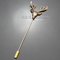 Unisex stick pins - Men Vintage Gold Deer Head Horn Elk Antler Stag Lapel Stick Pin Tie Hat Brooch Jewelry
