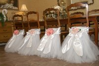 Wholesale Romantic Beach Wedding Chair Cover One Pieces Tulle Chair Cover For Banquet Chair Cover