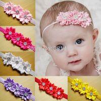Wholesale baby girl fashion headbands infant sunflower hairbands with rhinestone elastic hairband for girls