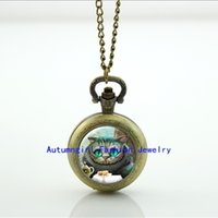 alice locket - Alice in Wonderland Pocket Watch Necklace Glass Locket Necklace Antique Pocket Watch Necklace WT