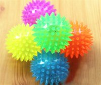 led toys - Soft Rubber Flash Ball LED Flash Ball Toys Hedgehog Ball Bouncing Ball Flash Barbed Ball Led Flash Pet Toys Christmas Birthday Festival Gift