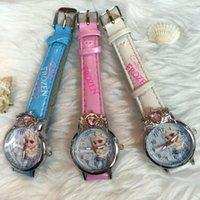 Wholesale Frozen Elsa Anna Children watches Kids FashionTransparent Box Cartoon Wristwatch High Quality Nice Package