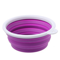 Wholesale Dog Bowl Travel Feeder Pet Collapsible Rubber Dog Bowl Pet Cat Eating Bowl With Handle Silicone