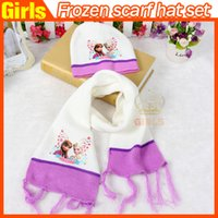 Wholesale New Fashion Frozen Crochet Scarf Hat set Girls Scarf bicolor Hat Elsa Anna Warm Winter Shawl Hat
