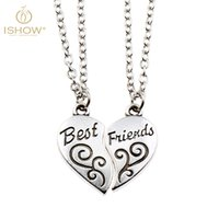 ancient chinese necklaces - ISHOW Chinese Cloud Ancient Silver Broken Heart Best Friends Pendant Necklace with Link Chain cm Extender
