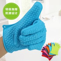 Wholesale Silicone BBQ Gloves Insulated Kitchen Tool Heat Resistant Glove Oven Gloves Pot Holder Cooking Mitts Five Fingers Anti Slip Dots Thicker DHL
