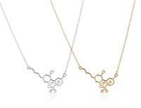 Wholesale Min pc Gold and Silver THC Molecule Chemistry Jewelry Long Chain Pendant Necklace for Women XL173