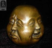 Wholesale Rare chinese tibet brass faces buddha head statue
