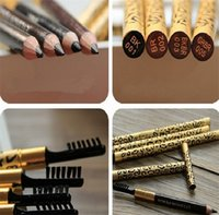 Cheap 2015 New Fashion Eyebrow Pencil Brush Leopard Design Metal Casing Long lasting Brown Eyebrow Pencil